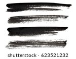 set of black ink lines isolated ... | Shutterstock . vector #623521232