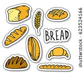 doodle icons set  stickers.... | Shutterstock .eps vector #623524166