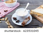 sandwich with peanut paste  and ... | Shutterstock . vector #623531045