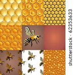 bees  cells and honey drops... | Shutterstock .eps vector #62353633