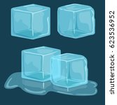 ice cubes vector set  cold... | Shutterstock .eps vector #623536952