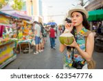 young student drinking fresh...   Shutterstock . vector #623547776