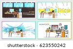 set of office workplace... | Shutterstock .eps vector #623550242