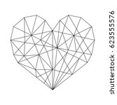 geometric hearts   geometric... | Shutterstock .eps vector #623555576