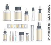 realistic empty pharmaceutical... | Shutterstock .eps vector #623560802