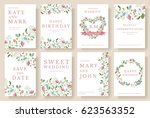 set of flower wedding ornament... | Shutterstock .eps vector #623563352