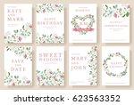 set of flower wedding ornament... | Shutterstock .eps vector #623563352