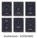 hanukkah thin line brochure... | Shutterstock .eps vector #623563682