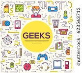vector outline it geeks people... | Shutterstock .eps vector #623563712