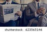 business men break sit read... | Shutterstock . vector #623565146
