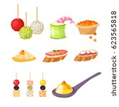 various meat canape snacks... | Shutterstock .eps vector #623565818