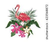 flamingo flowers exotic... | Shutterstock .eps vector #623568872