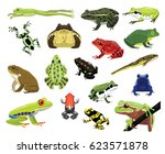 Various Frogs Cartoon Vector...