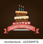 happy birthday cake card | Shutterstock .eps vector #623584976