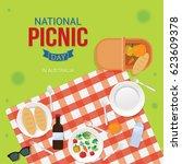 national picnic day vector... | Shutterstock .eps vector #623609378
