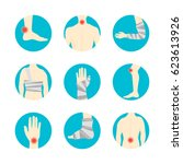 human injuries of body  hand... | Shutterstock .eps vector #623613926