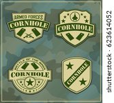military corn hole logos | Shutterstock .eps vector #623614052