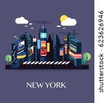 time square new york.vector... | Shutterstock .eps vector #623626946