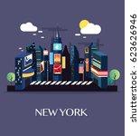 time square new york.vector... | Shutterstock .eps vector #623626946