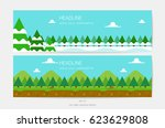 pine forest and taiga snow... | Shutterstock .eps vector #623629808