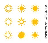 sun icons set on white | Shutterstock .eps vector #623632355