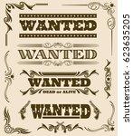 vintage wanted dead or alive... | Shutterstock .eps vector #623635205