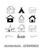 hand drawn houses set. heart... | Shutterstock .eps vector #623640602