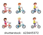 set. children ride a bicycle.... | Shutterstock .eps vector #623645372
