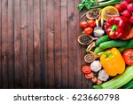 frame of organic food. fresh...   Shutterstock . vector #623660798