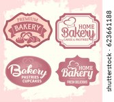 set of vintage fresh delicious... | Shutterstock .eps vector #623661188