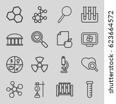 research icons set. set of 16... | Shutterstock .eps vector #623664572