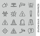 attention icons set. set of 16... | Shutterstock .eps vector #623664626
