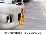 Small photo of jasmine garland, mixed flower garland hanging on new vehicle to respect to amulet or Consummate, believe about driver car will safety