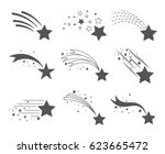shooting stars icons. comet... | Shutterstock .eps vector #623665472
