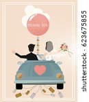 newlywed couple is driving a... | Shutterstock .eps vector #623675855
