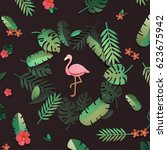 flamingo nature papercraft... | Shutterstock . vector #623675942