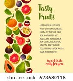fruits vector poster with... | Shutterstock .eps vector #623680118
