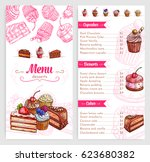 desserts and pastry vector menu ... | Shutterstock .eps vector #623680382