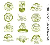 olive oil vector icons set and... | Shutterstock .eps vector #623681828