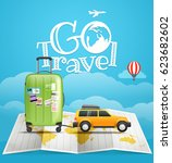 vacation travelling concept.... | Shutterstock .eps vector #623682602