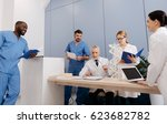 interested mentor enjoying... | Shutterstock . vector #623682782