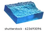 cross section of wave with blue ... | Shutterstock . vector #623693096