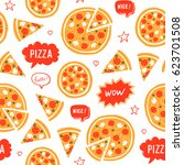 vector hand drawn pizza and...   Shutterstock .eps vector #623701508