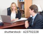 business people talking over... | Shutterstock . vector #623702228