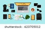 computer  photo camera  coffee...   Shutterstock .eps vector #623705012