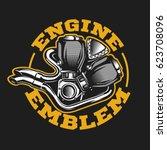 motorcycle engine logo in... | Shutterstock .eps vector #623708096