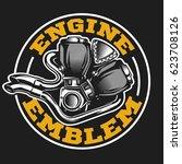 engine logo in vintage retro... | Shutterstock .eps vector #623708126