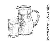 hand drawn milk jug and glass...   Shutterstock .eps vector #623717006