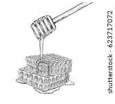 hand drawn set of honeycomb...   Shutterstock .eps vector #623717072