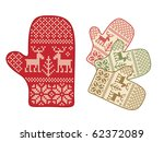 folk style mittens with deer...